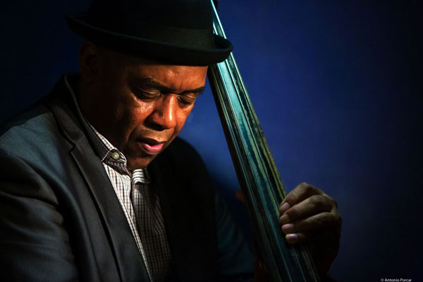Essiet playing jazz bass on stage